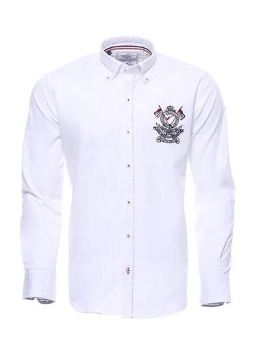 Wessi Erkek Çiçek Desenli Manşetli Pamuk Gömlek Beyaz